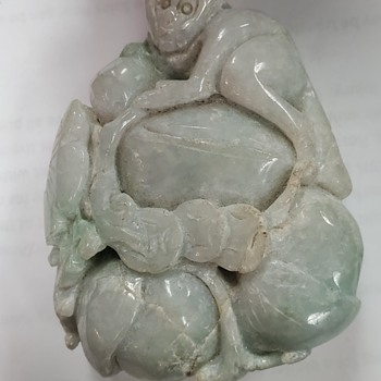 Large Jadeite Jade Monkey and Peaches Carving - Asian