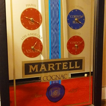 MARTELL COGNAC mirror with clocks - Advertising