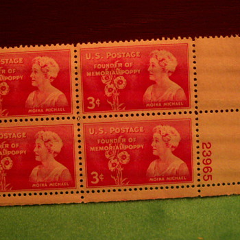 1948 Founder Of The Memorial Poppy Moina Michael 3¢ Stamps