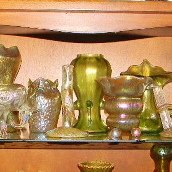 Loetz Of All Shapes & Sizes...one of my Favourite Shelves - Art Nouveau