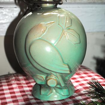 Grandma's green bird lamp - Pottery