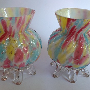 Pair Victorian rainbow spangle glass vases with applied feet - Art Glass