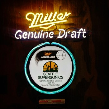 94-95 miller Seattle Sonics Tacoma crackle neon sign - Basketball