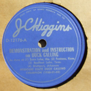 Sears Roebuck  J. C. Higgins Duck, Goose and Crow Calling 78 rpm record - Records