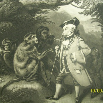 painted by e. landseer  engraved by j sartain the travelled monkey. sign Engraved for the Eclectic magazine. 1827-1872 - Posters and Prints