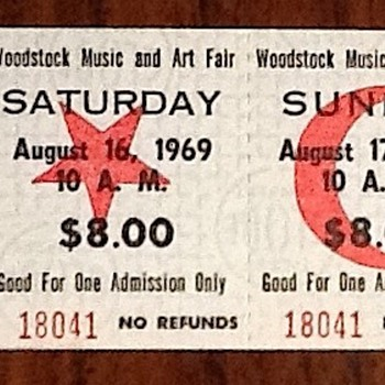 Woodstock ticket - Music Memorabilia