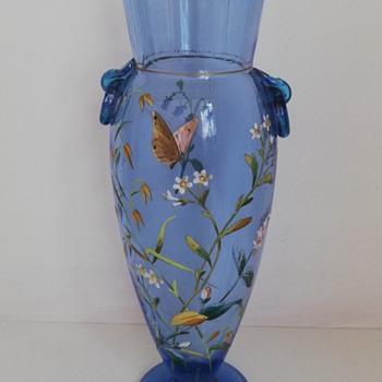 Harrach Enamelled Glass Vase - Art Glass