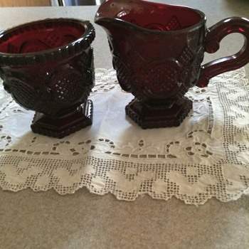 Antique Avon Deep Ruby Red Sugar Bowl and Creamer (without lid)
