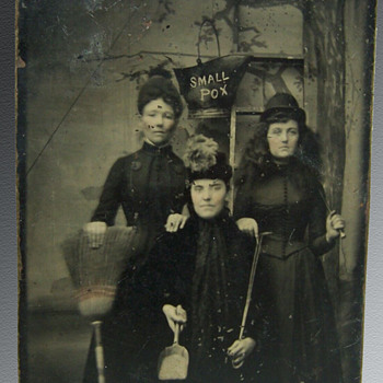 "1880's Occupational Tintype Photo showing Women dressed in black doing ""Small Pox Cleaning"" - Photographs"