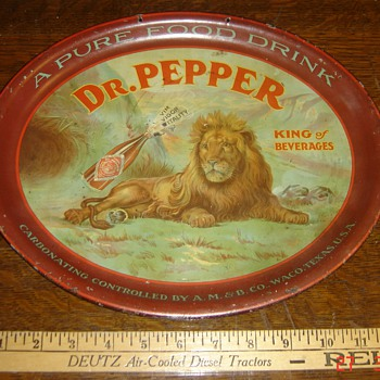 13 inch Dr Pepper Tray with Lion - One of my favorites - Advertising