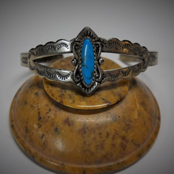 Vintage Sterling Silver and Genuine Turquoise Cuff, Late 60s-70s - Fine Jewelry