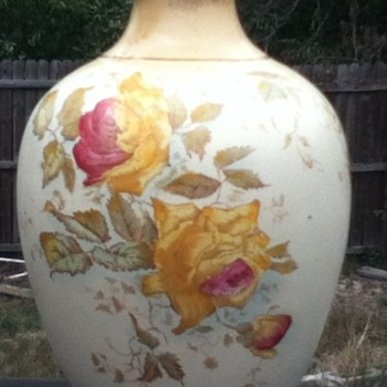 Vase - Marked 27/1942 - yellow/pink roses - Pottery