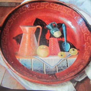 82 Mexico redware large bowl painted