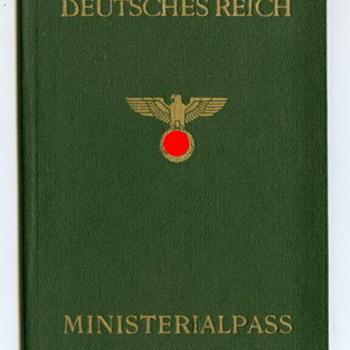 Rare Unused NS Ministerialpass ca 1938-45. - Paper