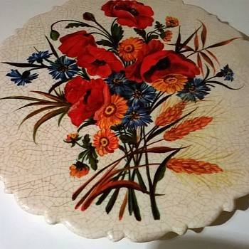 Melamine Crackle Glaze Floral Teapot Stand, Thrift Shop Find $1 - Kitchen