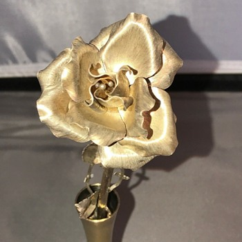Tiffany & Co Gilded Sterling Silver Rose In Vase 23836 - Silver