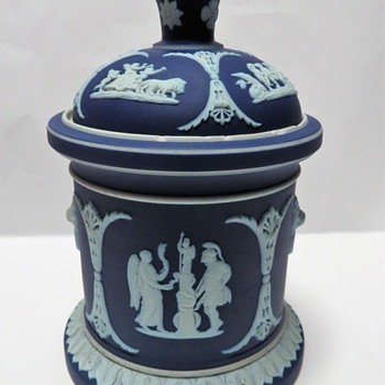 Wedgwood Jasperware Cobalt Blue Tobacco Jar - China and Dinnerware