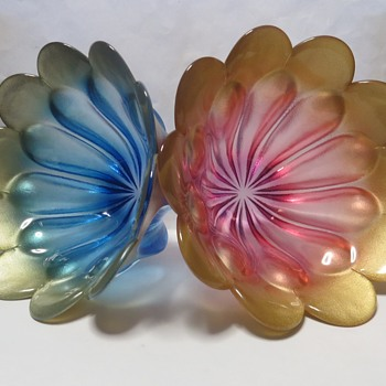 "Walther Glass Tulip Shaped Bowls ""Marrakech"" - Art Glass"
