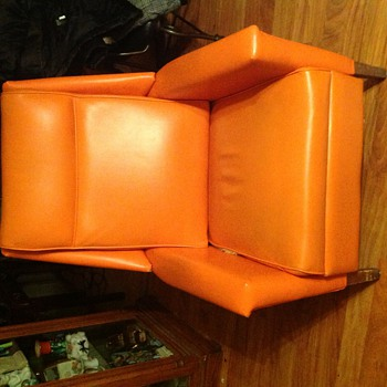 My orange chair. Almost broke my back picking up.  - Furniture