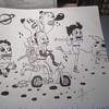 cartoon artist black and white