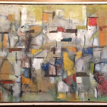 Lain Singh Bangdel Nepalese artist modern art abstract painting 1960s  - Fine Art