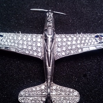 PART 5,  P-39 AIRACOBRA BROOCH,  EXCEEDS 228 DIAMONDS - 268  STONES - LAWRENCE DALE BELL OF BELL AIRCRAFT CO. WWII  AVIATION - Advertising