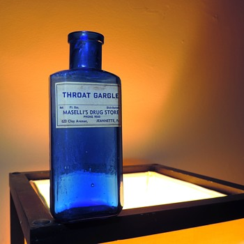 Maselli's Drug Store Throat Gargle Cobalt Blue Medicine Bottle Flask Prescription Jeannette Pennsylvania Antique Glass - Bottles