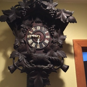 Antique Black Forest Cuckoo Clock Aesop's Fable Fox and Grapes - Clocks