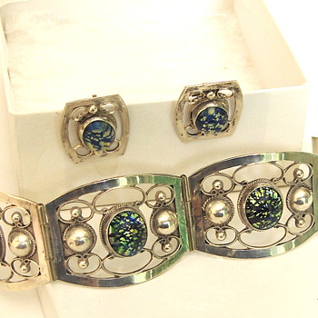 Sterling Silver Vintage Mexico Glass Cab Bracelet & Earrings - Fine Jewelry
