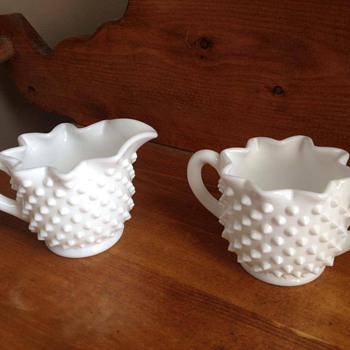 milk glass creamer sugar set - Glassware