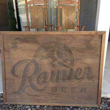 Wooden Rainier Beer Sign