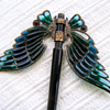 Art nouveau domed plique à jour wings hair ornament. Part 1.