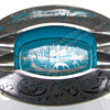 Aqua Glass with Silver Overlay Ashtray