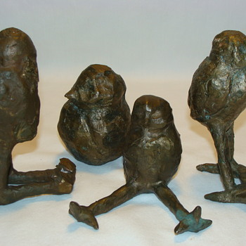 Antique Vintage Bronze Brass Bird Sculpture Brutalist Art Pablo Picasso Era - Animals
