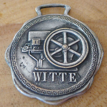 1914 WITTE Engine Works Hit Miss Gas Engine Watch Fob  - Pocket Watches
