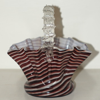 Twisted Burgundy Pinstripes – A Known Welz Décor On A New Basket Shape - Art Glass