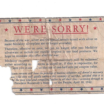 """""""WE'RE SORRY"""" April 28,1942 - Military and Wartime"""