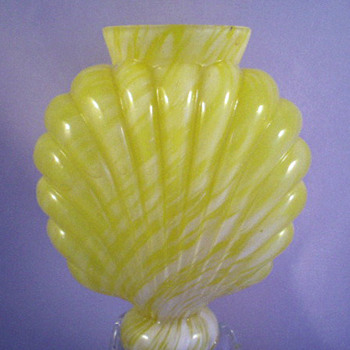 ca 1895 Ruckl Bohemian Yellow Variegated Embossed or Ribbed Glass Vase / Life Light Related - Art Glass