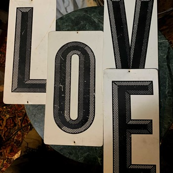 Large Metal Numbers for Outdoor Use - spelling 'LOVE'! - Advertising