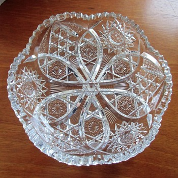 Vintage American Brilliant Cut Crystal Bowl Signed Wright - Glassware