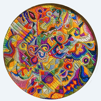 Circa 1968-1969 Psychedelic Needlepoint by Canadian Artist. - Rugs and Textiles