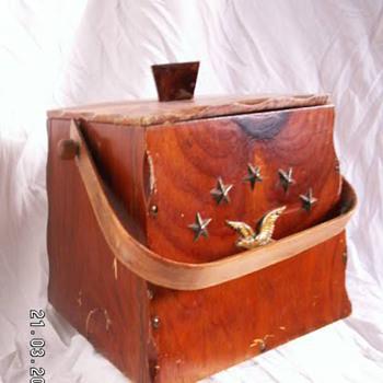Vintage Trapezoid Wood Bucket w/ Colonial Theme - Folk Art