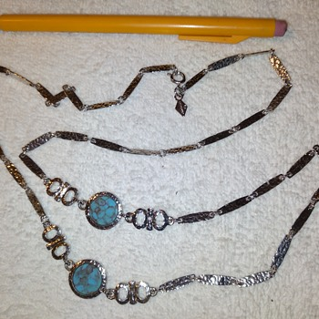 Sarah Coventry silvertone and turqoise (?) necklace - Costume Jewelry