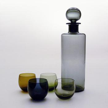 SAARA decanter and MAARI glases, Sara Hopea (Nuutajärvi Notsjö) - Art Glass