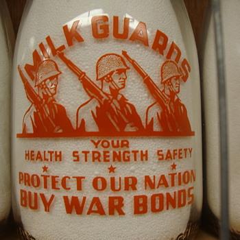 Lenick's Dairy LaPorte Indiana War Slogan Milk Bottle..............