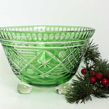 Loetz Tri-footed Green Cut Glass Bowl  - Art Glass