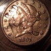 1891 S Twenty Dollar Gold coin, marked BAD, with face blemish