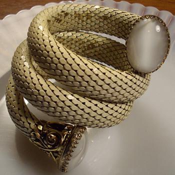 White Mesh Coil Bracelet W/Moonstones. - Costume Jewelry