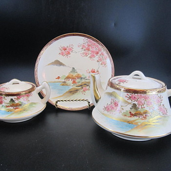 ID Help Needed Please For Chinese or Japanese Cherry Blossom Signed Dish Tea Set - Asian