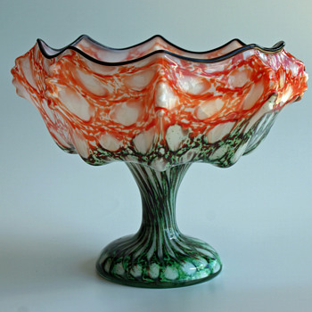 Welz Knuckle vase/bowl with Honeycomb decor - Art Glass